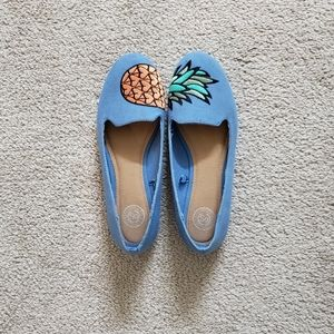 Pineapple Pale Blue Flats